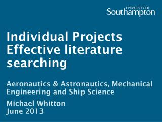 Individual  Projects Effective literature searching