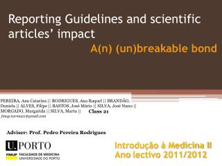 Reporting  Guidelines and scientific articles' impact