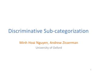 Discriminative Sub-categorization