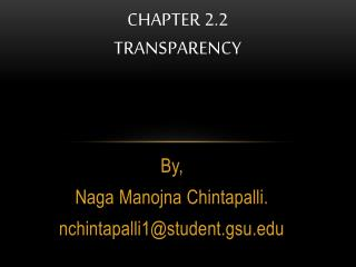 Chapter 2.2 transparency