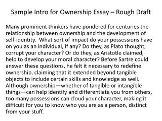 Sample Intro for Ownership Essay – Rough Draft