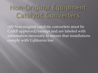 Non-Original Equipment Catalytic Converters