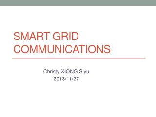 Smart  Grid Communications