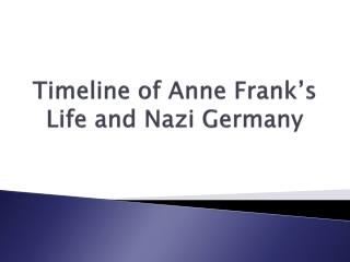 Timeline of Anne Frank's Life and Nazi Germany
