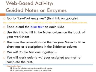 Web-Based Activity: Guided Notes on Enzymes
