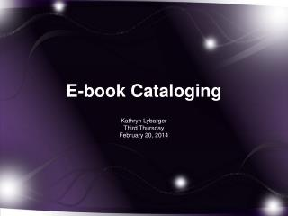 E-book Cataloging
