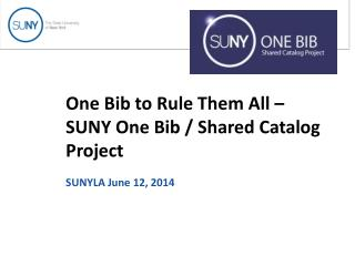 One Bib to Rule Them All –  SUNY One Bib / Shared Catalog Project