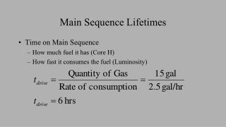Main Sequence Lifetimes