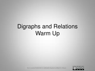 Digraphs and Relations  Warm Up