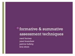 formative & summative assessment techniques