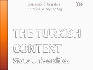 THE TURKISH CONTEXT  State Universities