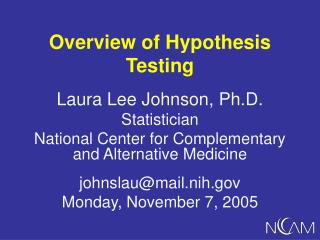 Overview of Hypothesis Testing