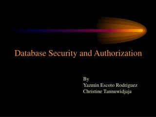 Database Security and Authorization