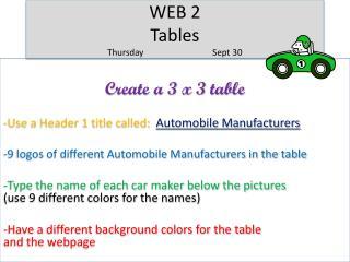 WEB 2 Tables ThursdaySept 30