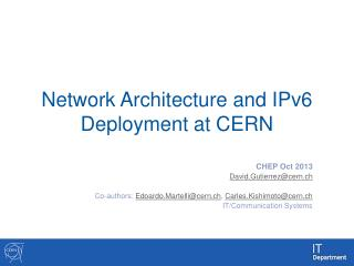 Network  Architecture  and IPv6  Deployment at CERN