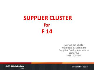 SUPPLIER CLUSTER for F 14