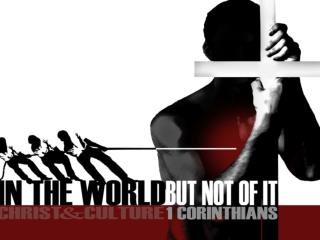 "Christ and Culture ""I n But Not Of the World"""