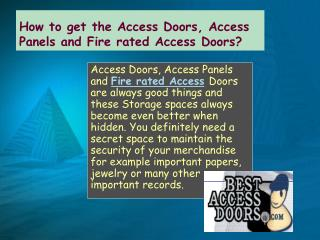 Access Panels and Fire rated Access Doors