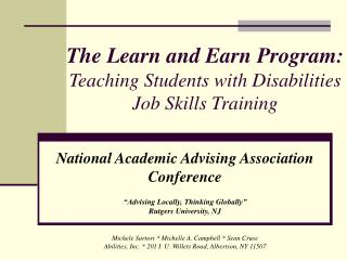 The Learn and Earn Program: Teaching Students with Disabilities Job Skills Training