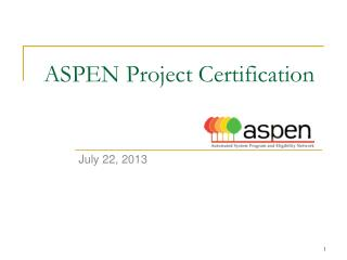 ASPEN Project Certification