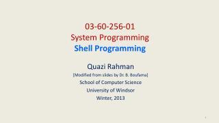 03-60-256-01 System Programming Shell Programming