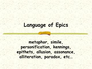 Language of Epics