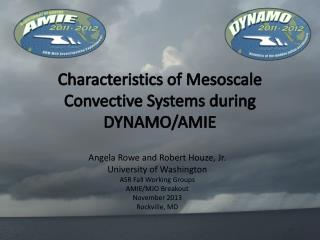 Characteristics of Mesoscale Convective Systems during DYNAMO/AMIE