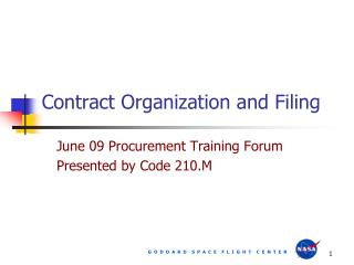Contract Organization and Filing