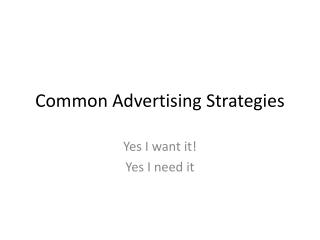 Common Advertising Strategies