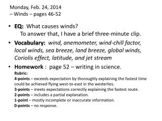 Monday , Feb.  24,  2014  –  Winds – pages 46-52