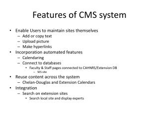 Features of CMS system