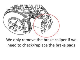 We only remove the brake caliper if we need to check/replace the brake pads