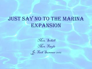 Just Say No to the Marina Expansion