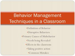 Behavior Management Techniques in a Classroom