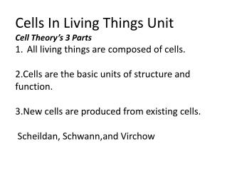 Cells In Living Things Unit Cell  Theory's 3 Parts All  living things are composed of cells .