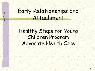 Early Relationships and Attachment Healthy Steps for Young Children Program  Advocate Health Care