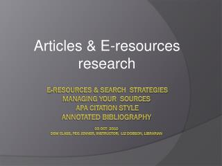 Articles & E-resources research