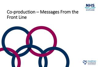 Co-production – Messages From the Front Line