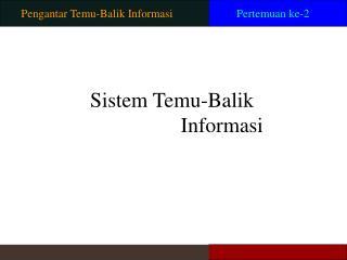 Pengantar Temu-Balik Informasi
