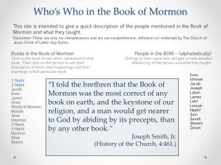 Who's Who in the Book of Mormon