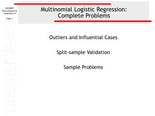 Multinomial Logistic Regression: Complete Problems