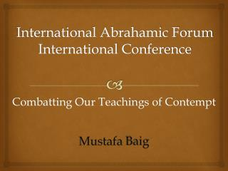 International Abrahamic Forum  International Conference