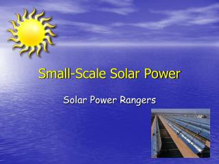 Small-Scale Solar Power