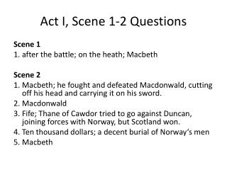 Act I, Scene 1-2 Questions
