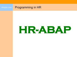 Programming in HR