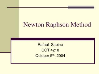 Newton Raphson Method