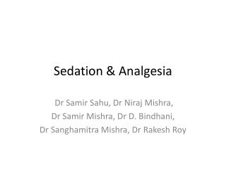 Sedation & Analgesia