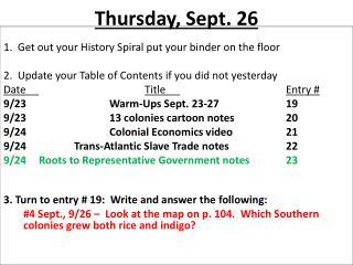Thursday, Sept. 26