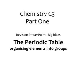 Chemistry C3  Part One