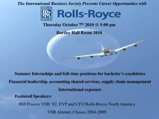 The International Business Society Presents Career  Opportunities with